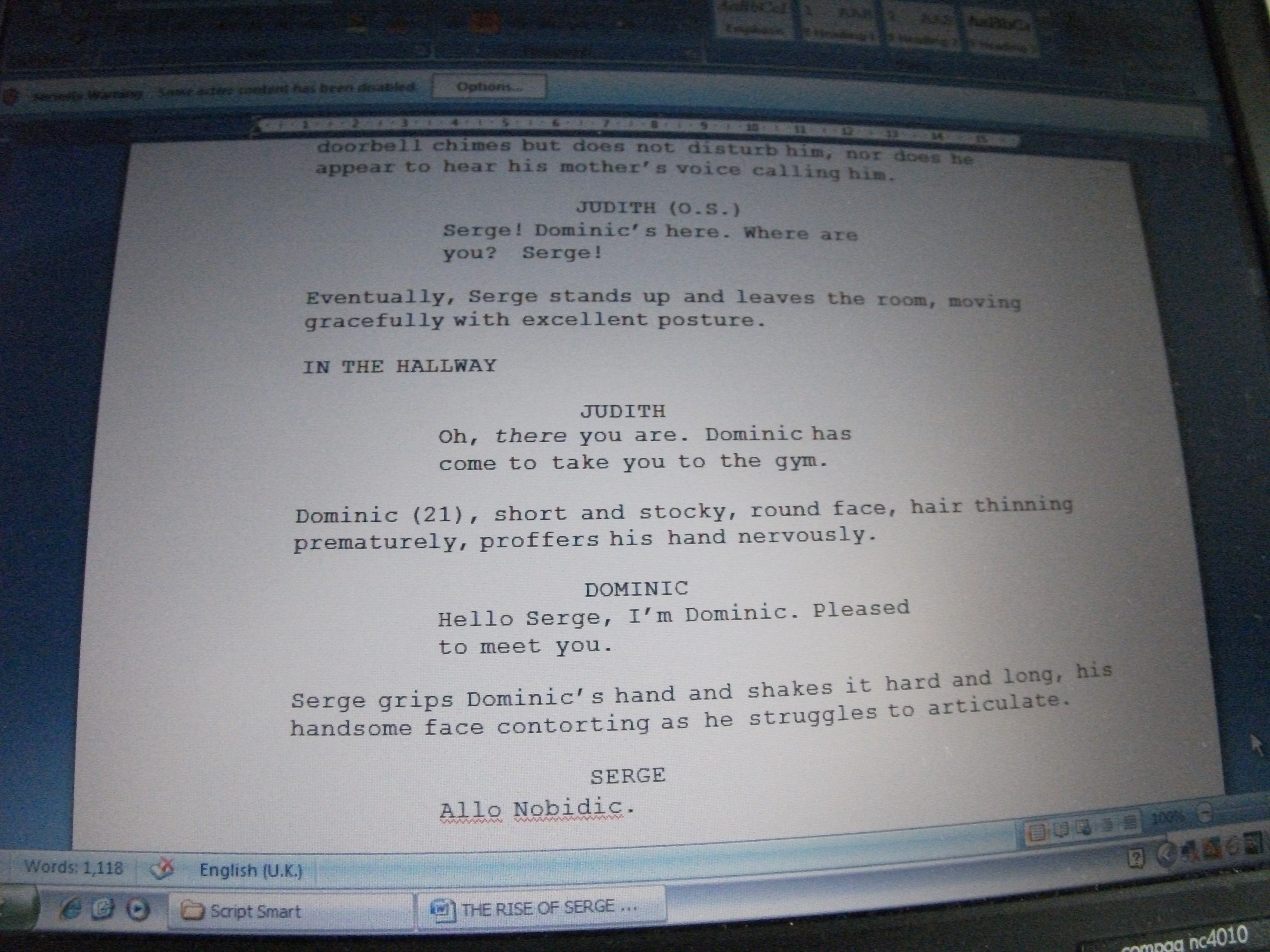 Script writing format bbc